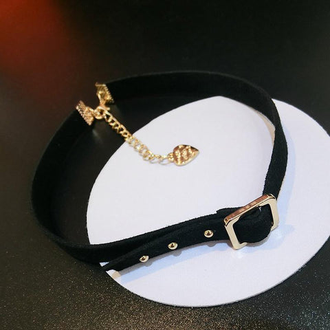 Studded Black Suede Choker Necklace