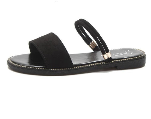 Suede Band Slide On Sandals