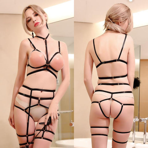 Two Piece Strappy Bondage Cage Set