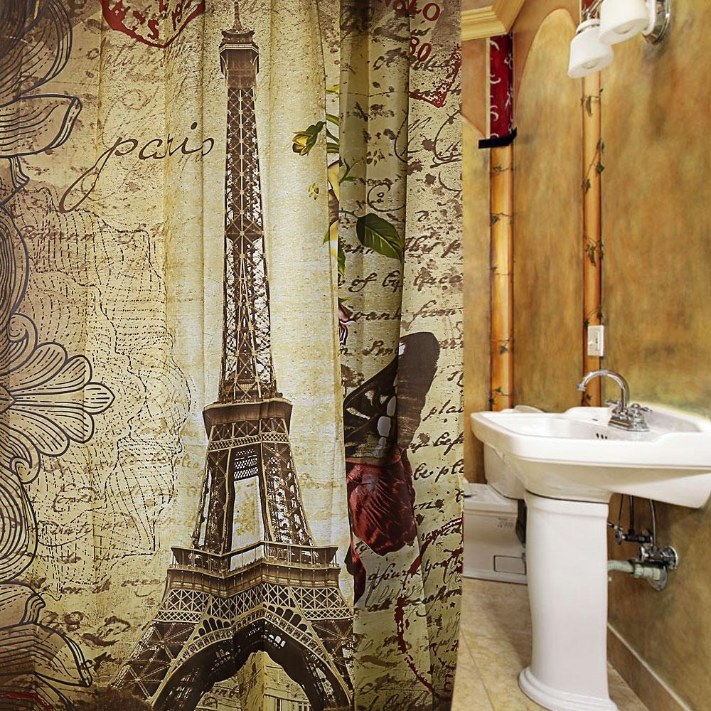 Vintage Paris Waterproof Bath Curtain