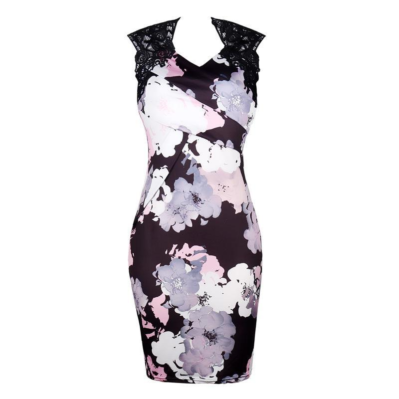 Lace Connection Floral Watercolor Dress