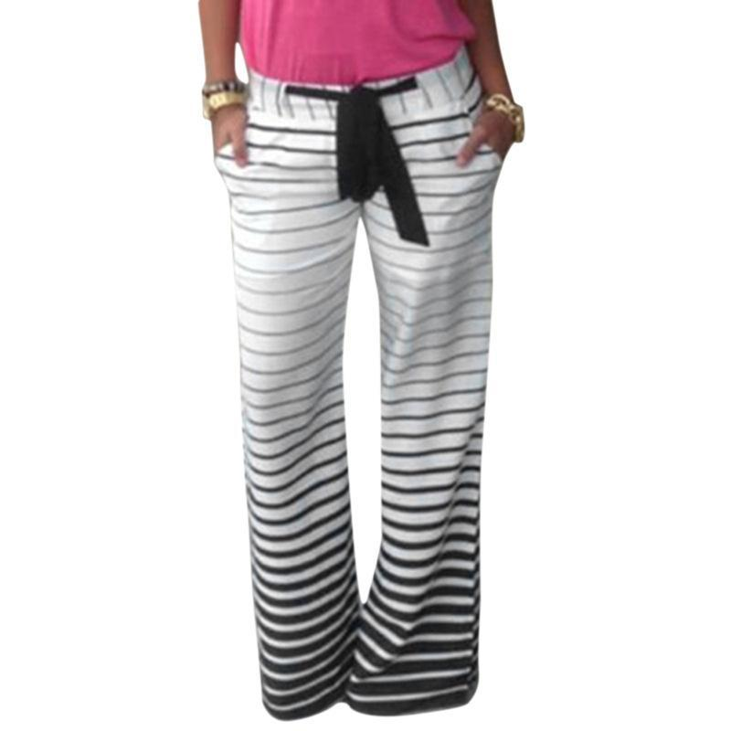Casual Striped Dimensions Bowtie Pants - Theone Apparel