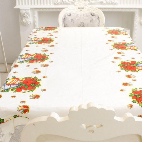 White Christmas Bell Disposable Tablecloth
