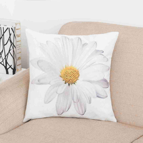 White Daisy Flower Print Pillow Cover