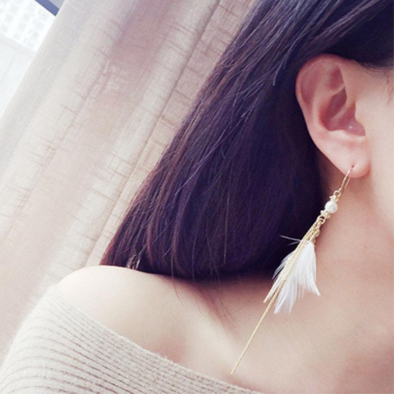 Feather Pendant Chain Tassel Earrings
