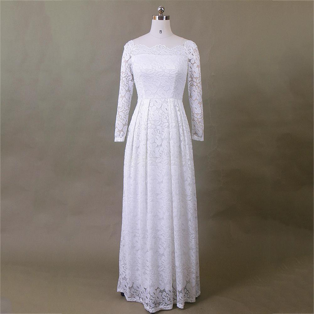 Pleated Lace Sleeve Bridal Gown