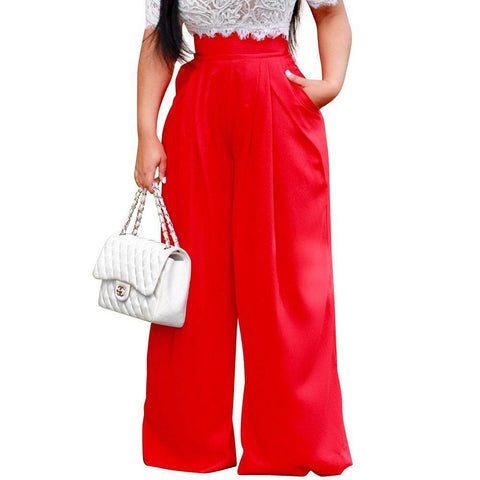 Wide Leg Pleat Front Palazzo Pants