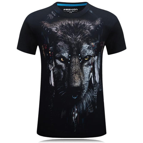 Wolf With Headdress Black Graphic Tee