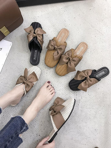 Woven Bow Top Slip On Sandals
