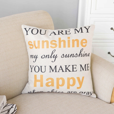 You Are My Sunshine Lyric Pillow Cover