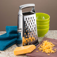 Professional Box Grater, 100% Stainless Steel with 4 Sides, Best for Parmesan Cheese, Vegetables, Ginger