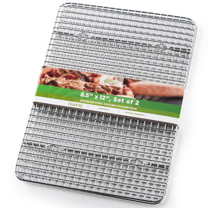 "Spring Chef Cooling Rack - Baking Rack - Heavy Duty, 100% Stainless Steel, Oven Safe, 8.5"" x 12"" Fits Small Quarter Sheet Pan"