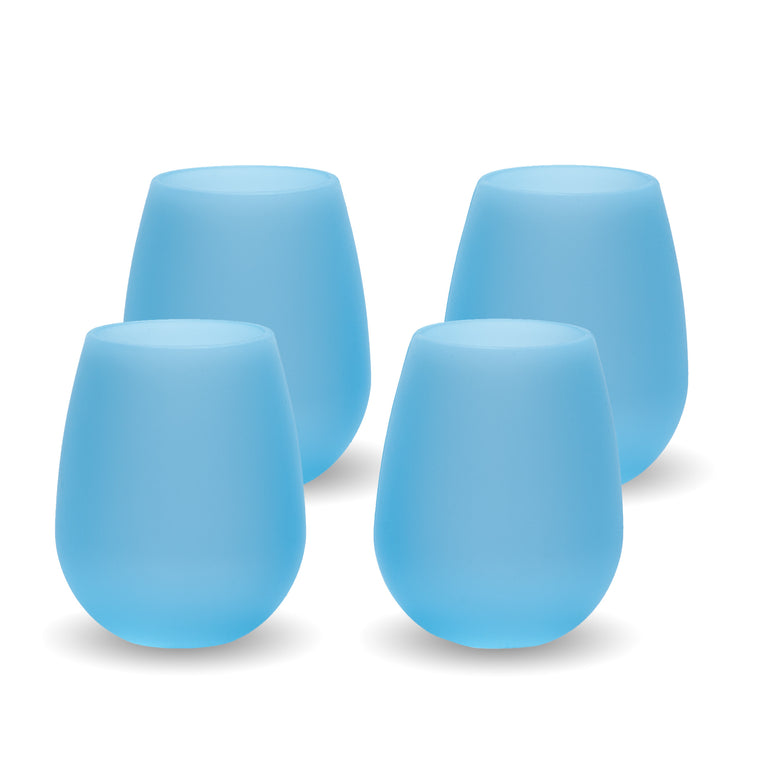 Bendi Blue Silicone Wine Glasses - Set of 4