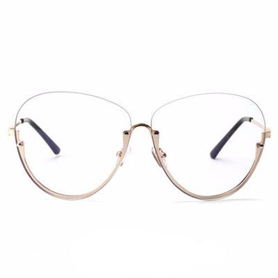 Oversized Oval Transparent Pink Lens Gold Frame Sunglasses – PG ...