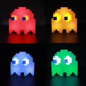 PAC-MAN Ghost Multicolored LED Rechargeable Desktop Light Lamp Out Of The Box Nerd Changeable Blue