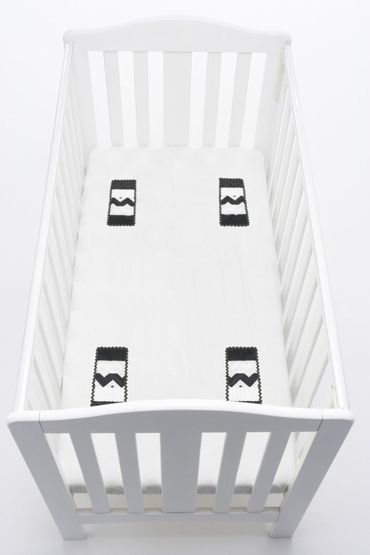 LOVEY Fitted Cot Sheet with Comforter Panels - Monochrome