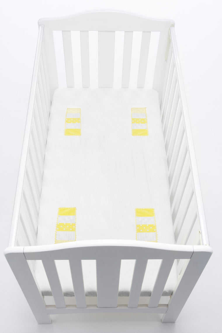 LOVEY Fitted Cot Sheet with Comforter Panels - Yellow
