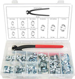 Oetiker Auto & Industrial  2 Ear Clamps W1 Zinc Plated Steel 10 and 50 Pack and Assortment Kit and Pincers.