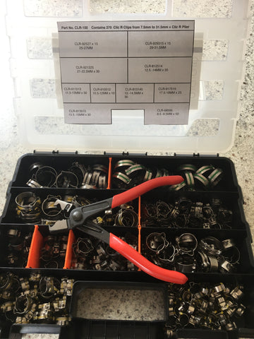 9500 Series CLR-100  Clic R  Hose Clip Assortment Kit + Free Custom Pliers