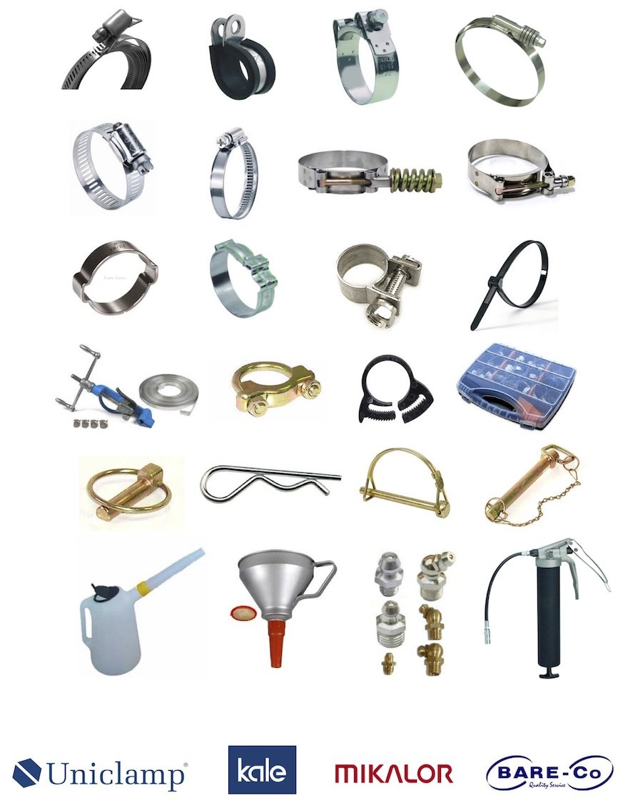 Hose clamps, fasteners