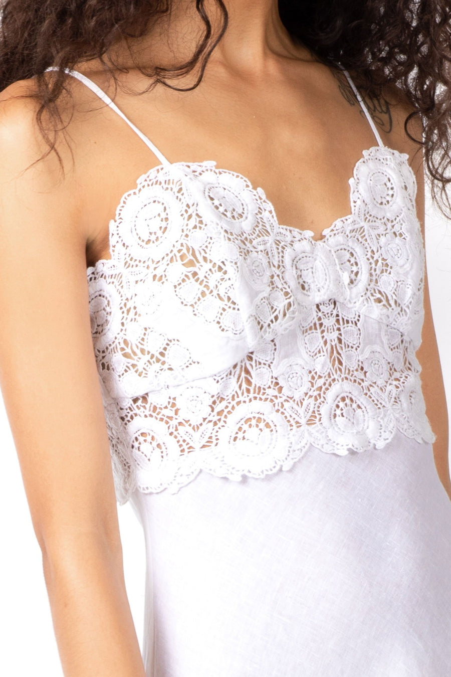This is a detail photo of the lace bodice on the dress.