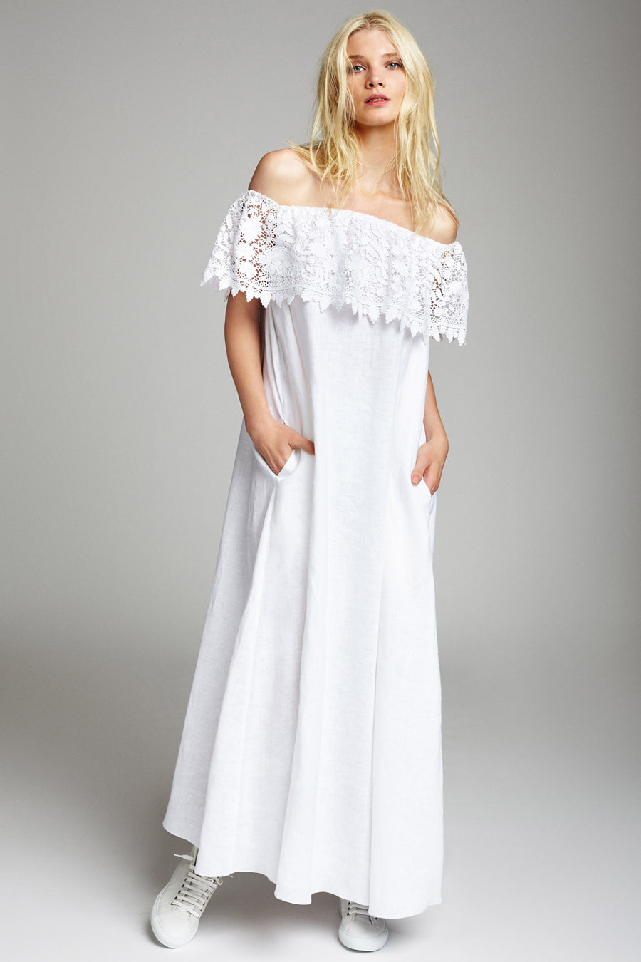 Angelina White Linen Dress - SAMPLE