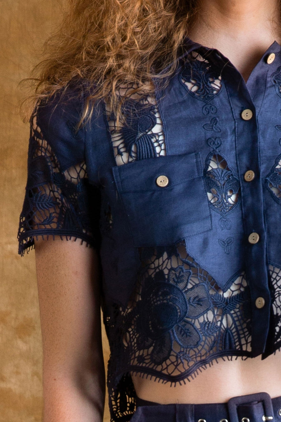 Astrid Lace Button-Up Shirt