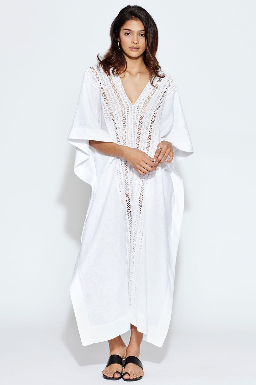 Brea Linen Caftan With Lace Inserts