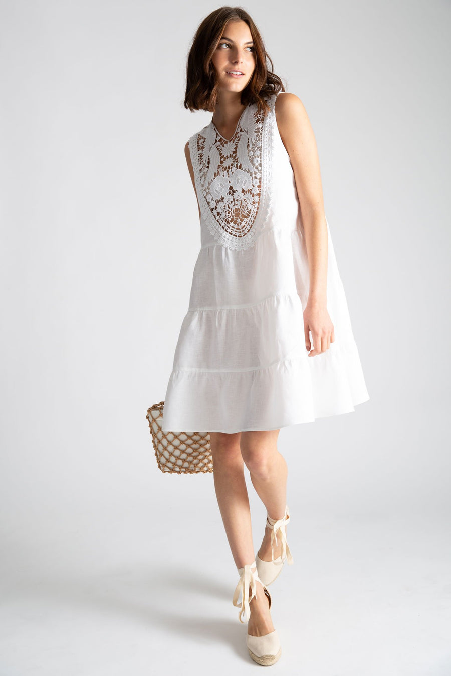 This is a photo of a woman wearing a white linen coverup dress that falls right about her knee and has 3 tiers. The front of the dress has a lace yolk that peeks through to her bikini top underneath. She is holding a white bag with natural netting over it and wearing natural colored espadrilles.