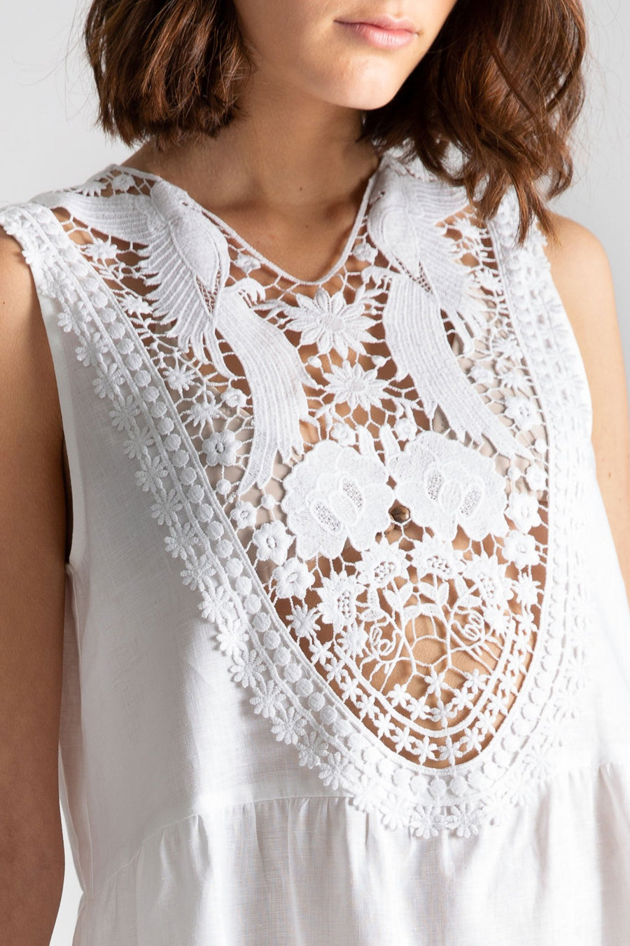 This is a detail photo of a white yolk on top of a short linen dress. The yolk design has flowers and birds and shows through to her bikini top.