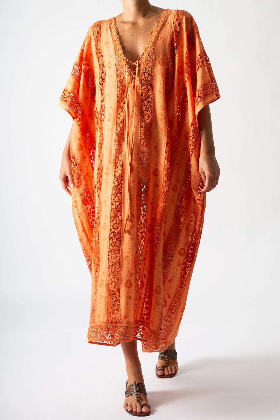 Blair Embroidered Caftan in Sunset Orange