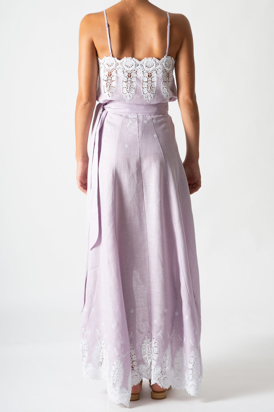 Clarice Embroidered Wrap Skirt in Lavender
