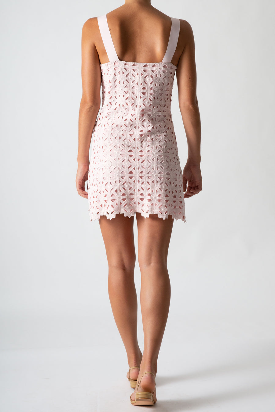 This is a back view photo of a woman wearing a mini pink lace dress with ribbon straps.