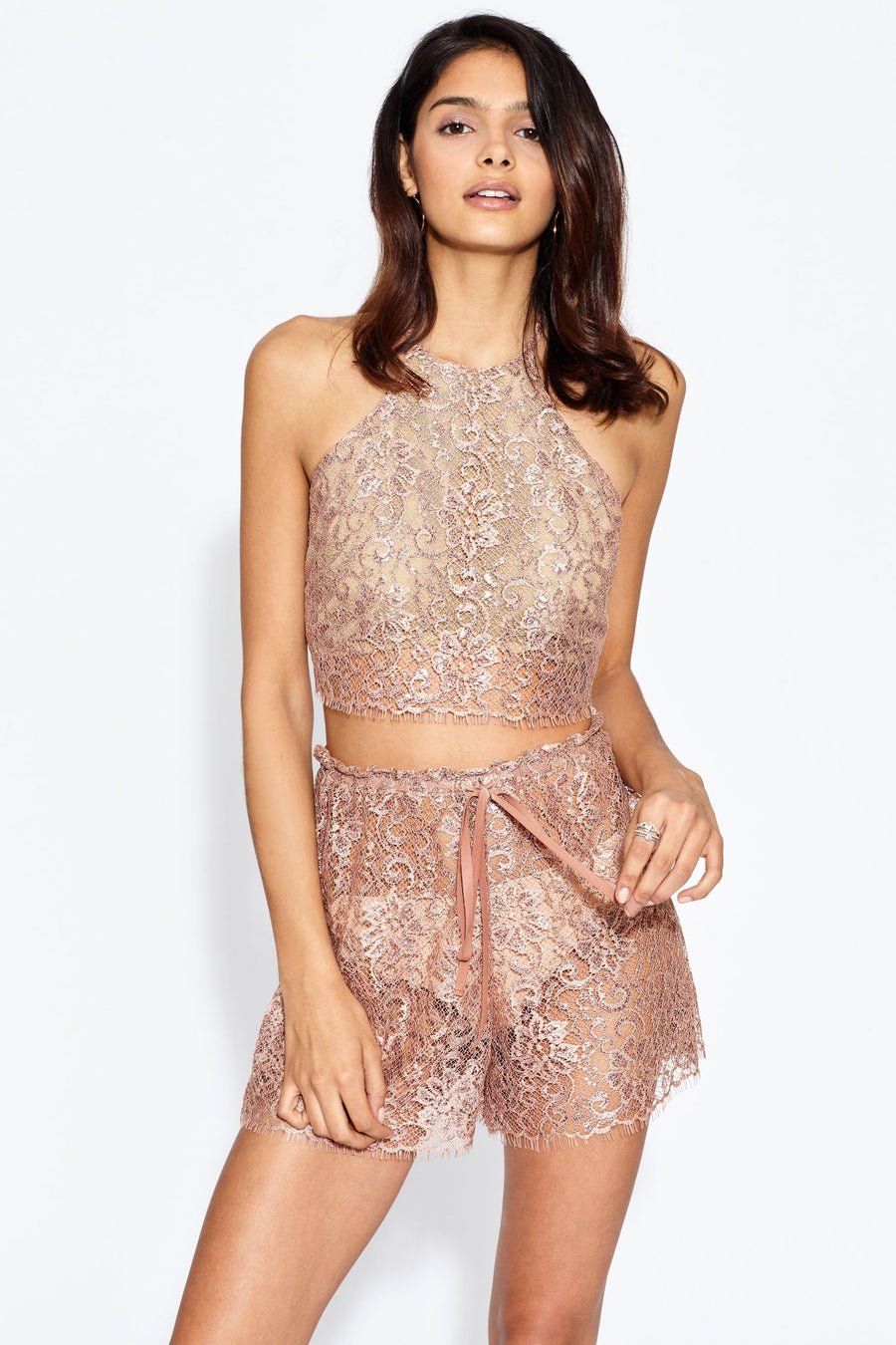 Noel Metallic Chantilly Lace Halter Top