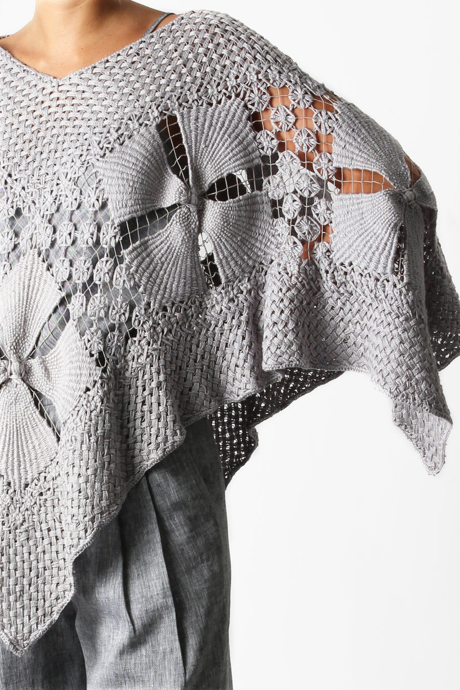 This is a detail photo of a handmade shawl from Brazil with geometric floral details.