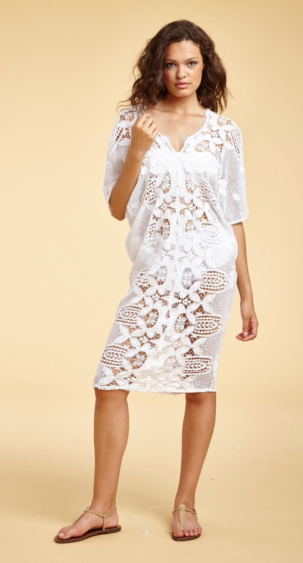 Miguelina white lace beach dress