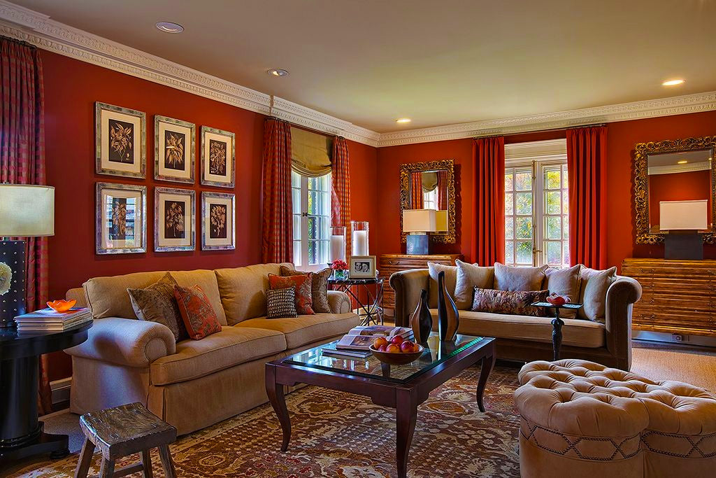 Red Living Room - B Fein Interior Design