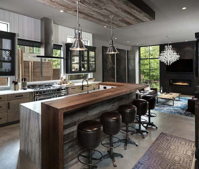 Interiors with black, gray and brown color theme