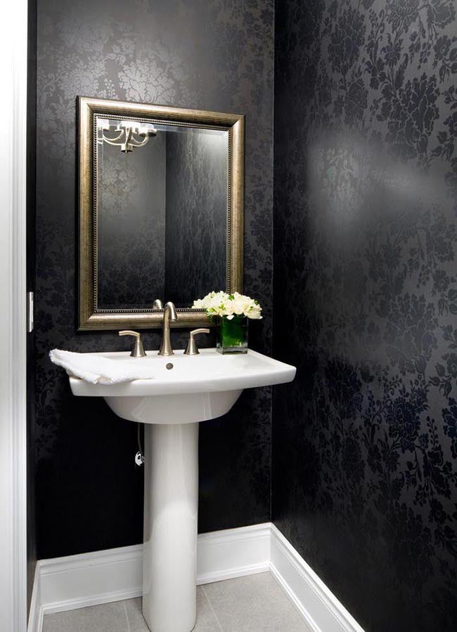 Bathroom with black glossy pattern wallpaper