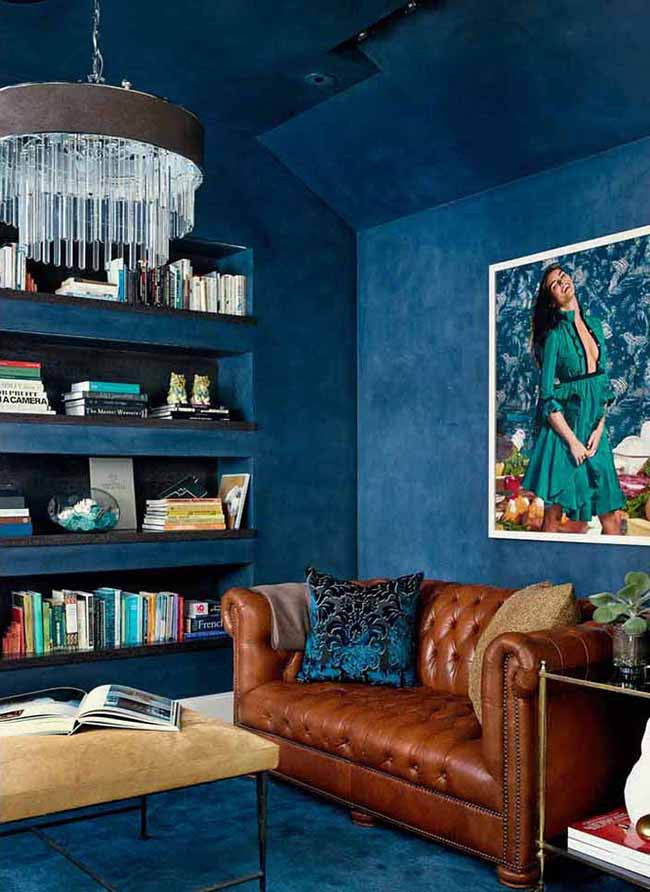 Home office interior with blue walls
