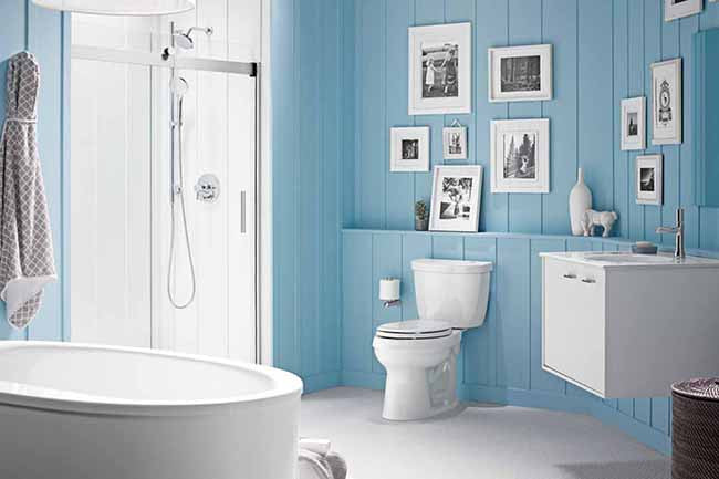 Bathroom interior with blue walls