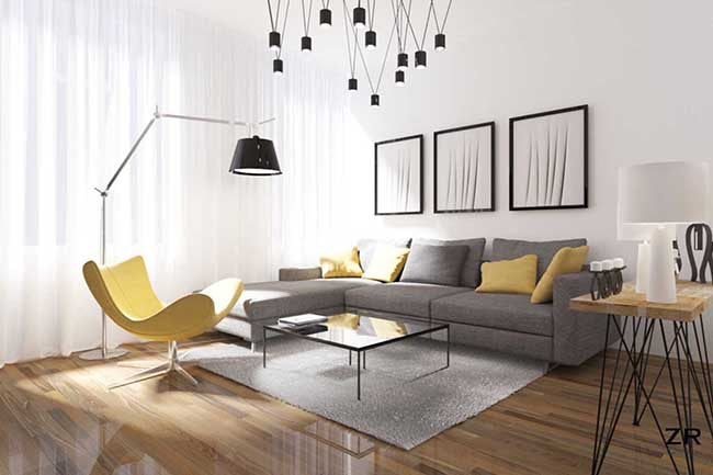 White living room with yellow and gray
