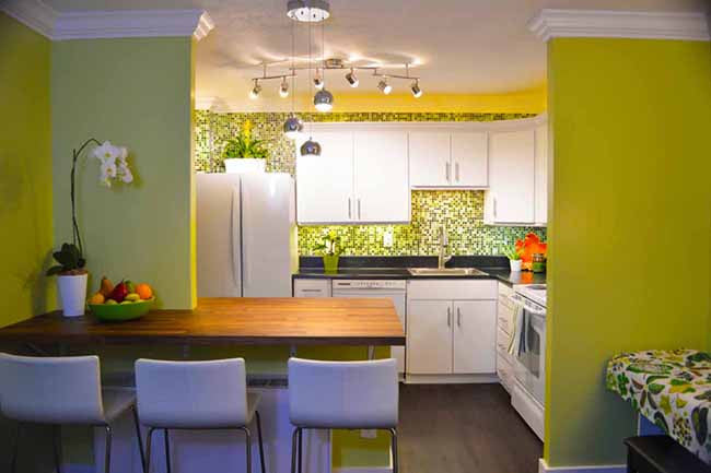 Kitchen with Lime Green walls