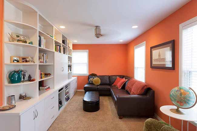 Living room with orange walls