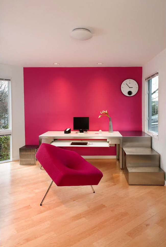 Hot pink wall in home office
