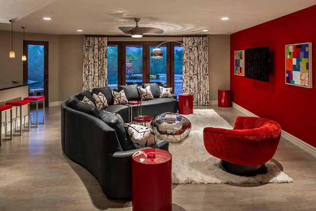 Living room with red accent wall