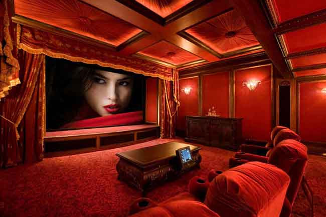 Home theater with red walls