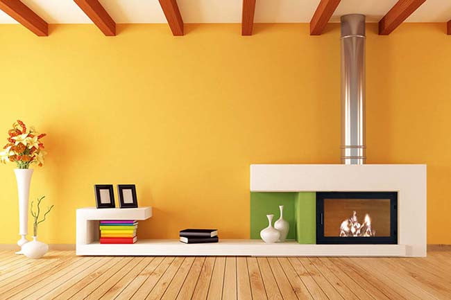 Living Room Interior With Yellow Walls