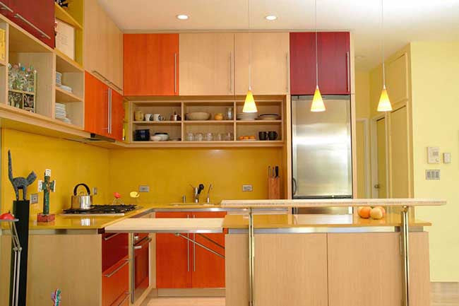 Kitchen interior with yellow walls
