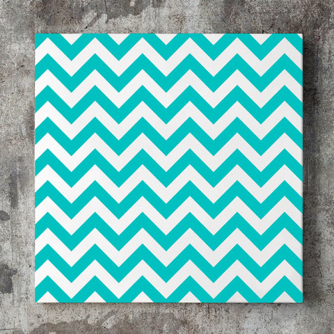 Wall art and Canvas artwork, Aqua & White Chevron, Clean